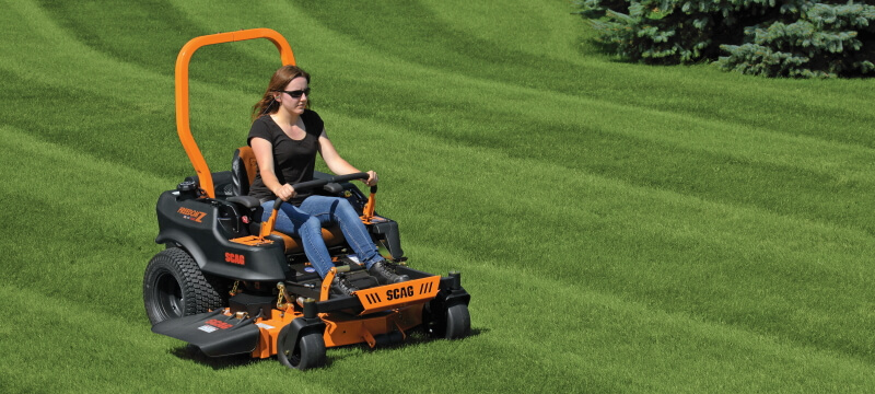 zero turn mower in action