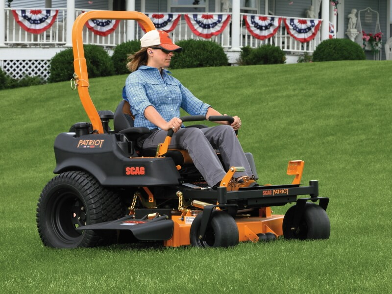 large engine and deck ztr zero turn lawnmower on grass